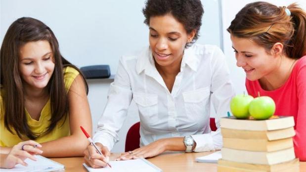 English teacher helping students